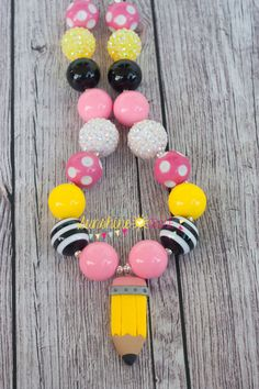 Pencil Chunky Bubblegum Necklace Chunky by LittleSunshineGrace, $18.00