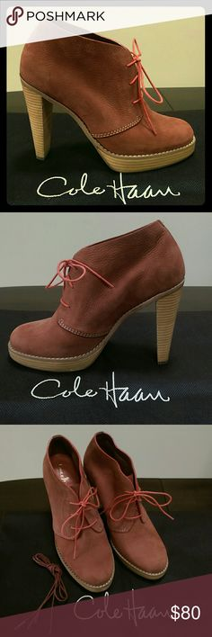 Gorgeous Cole Haan Suede Booties Cole Haan suede lace up booties with Nike Air sole, size 7b. Like new! Worn only a few times, excellent condition - no scuffs or marks. Always kept in shoe dust bag. Extra set of laces included. Cole Haan Shoes Ankle Boots & Booties