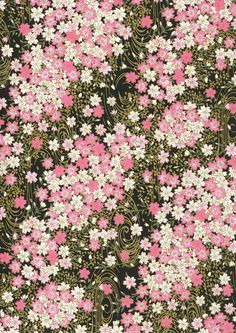 Japanese Yuzen Chiyogami Washi Paper (Floral Design A top quality sheet of beautiful Chiyogami Paper, ideal for invitations and Japanese Paper, Japanese Patterns, Japanese Prints, Graphic Wallpaper, Wallpaper Backgrounds, Diy Stationary Projects, Washi Paper, Motif Vintage, Floral Illustrations