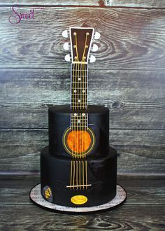 Guitar Cake | A Sweet Passion                              … Music Themed Cakes, Music Cakes, Pretty Cakes, Cute Cakes, Fondant Cakes, Cupcake Cakes, Bolo Artificial, Bolo Musical, Decors Pate A Sucre