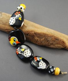 Folk Art style Chickens glass bead set of 4 by jperaladesigns, $37.00