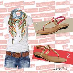 ¡Un lindo estilo y con dos opciones de calzados! ¿Cuál eliges? www.tucalzado.com #Estilos #Moda #Zapatos #Sandalias #Tendencias