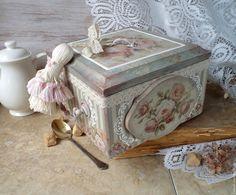 """Купить """" Винтажное чаепитие """" чайная коробка - разноцветный, чайная коробка декупаж"""