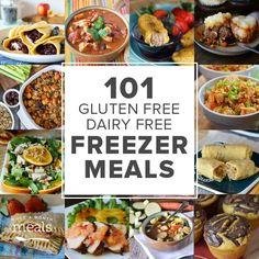 101 Gluten Free Dairy Free Freezer Meals via @onceamonthmeals