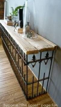 desk of wrought iron fencing