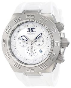 Invicta Men's 1536 Subaqua Chronograph Silver Dial White Silicone Watch Invicta. $147.99. Flame-fusion crystal; brushed and polished stainless steel case; white polyurethane strap. Water-resistant to 100 M (330 feet). Swiss quartz movement. Silver dial with silver tone hands and white hour markers; luminous; unidirectional stainless steel bezel. Chronograph functions with 60 second, 30 minute and 1/10th of a second subdials; date function