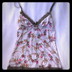 Delicate flowered cami Lace up in the back. Very pretty, just too small Boutique Tops Camisoles