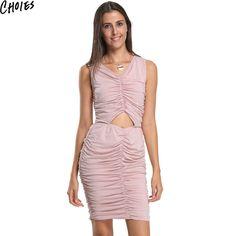 c1b2215e63 Choies Sexy Women 3 Colors V Neck Waist Sleeveless Ruched Club Bodycon Dress…  Pink Black