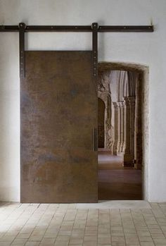 Emanuele Fidone, Lamberto Rubino · Early Christian Basilica of San Pietro, Syracuse Industrial Door, Industrial Living, Industrial Interiors, Design Oriental, Steel Barns, Barn Kitchen, Contemporary Architecture, Contemporary Houses, Pavilion Architecture