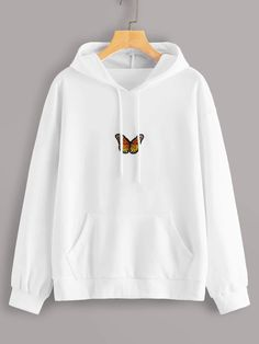 To find out about the Butterfly Patched Drawstring Hooded Sweatshirt at SHEIN, part of our latest Sweatshirts ready to shop online today! Girls Fashion Clothes, Teen Fashion Outfits, Cute Clothes For Teens, Cool Clothes, Women's Fashion, Cute Fashion, Winter Fashion, Fashion Dresses, Cute Comfy Outfits
