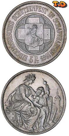 N♡T.Denomination: 5 Franc  Metal: Silver  State: Switzerland