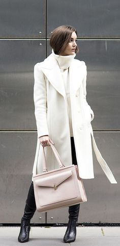 winter white with blush and black