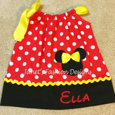 Red Minnie Mouse Pillowcase Dress Minnie by JanetsFashionDesigns