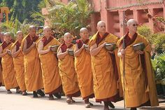 Buddhist nuns observing the ritual of begging for their daily meal, India