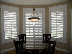 Mission Style Trim and Plantation Shutters go hand in hand for this Kitchen Nook Bay Interior Window Shutters, Bay Window Curtains, Window Trims, Moulding And Millwork, Craftsman Window Trim, Craftsman Style, Bay Window Treatments, Interior Definition, Mission Style Homes