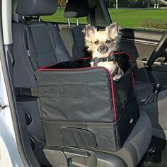 Autositz - für kleine Hunde - Nylon/Plüsch - auch als Reisebettchen verwendbar - besonders formstabil für mehr Komfort - mit Befestigungsgurten zur Sicherung des Sitzes im Fahrzeug - Staufach erhöht