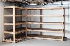 Diy Basement Shelving Basement Shelving Garage Storage Shelves How To Build Inexpensive Basement Storage Shelves One Project Closer Diy Basement Shelving The Wood Grain Cottage Diy Storage How To Store Your Stuff Diy Storage Shelves… Basement Storage Shelves, Diy Garage Storage, Garage Shelving, Garage Shelf, Diy Storage Room, Unfinished Basement Storage, Storage Ideas, Build Shelves, Storage Room Organization
