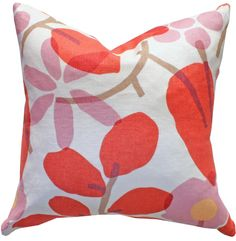 modern floral pillow.  poppy, pink, and ivory.