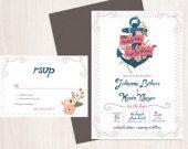 Printable Nautical Beach Wedding Invitation and RSVP-Print Yourself-Digital File