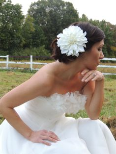 Large Cream White Dahlia flower clip bridal. Custom orders welcome! by LavenderRoseAcc on Etsy, $20.00