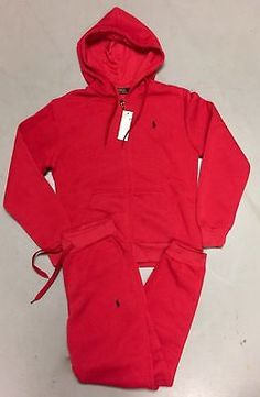 NWT Polo Ralph Lauren Mens Classic Fleece Hooded Track   Sweat Suits ... c783775393d