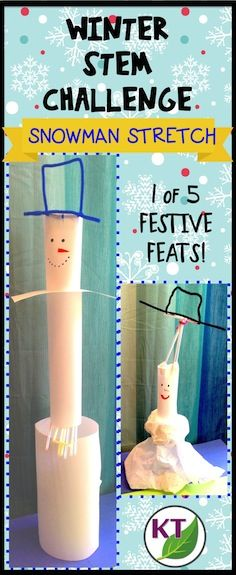 Working against a criteria/constraints list individually or in partners/groups, students will design and build the tallest free-standing snowman possible. (Option 2: Students design and build a snowman of greatest volume possible.) Modifications and extension activities included for grades 2 - 8.