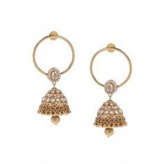 a28b2868172 Golden hoop earrings with a golden jhumka drop detailed with tiny white  stones all over. Adorned with golden beaded drops. A single golden beaded  drop.