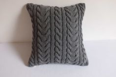 Hand knit cushion cover dark gray knitted pillow by Adorablewares