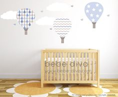 Hot Air Balloon Wall Decals, nursery wall decals, balloon wall decals, wall decal nursery, A great addition to any child's bedroom, play room, or nursery. – Peel and stick – Fully removable AND reusable (unlike vinyl) – Thin fabric