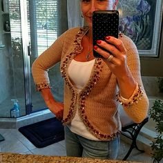Jeweled sweater Tan crocheted 3/4 length sleeve sweater. Hook and eye closure down front center. Amber, turquoise and silver embellishments around neck and cuffs. Like nee berek  Sweaters Cardigans