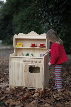 wooden toy kitchen steiner waldorf montessori by Littlegreenlotus, $250.00