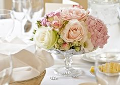 Love the rose and hydrangea combo - this in a more rustic container would be beaut for a wedding we're planning