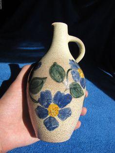 Vintage Sweden Flower Vase Decor Scandinavian hand painting Artist Signed