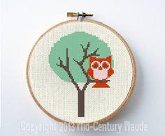 Owl Cross Stitch Pattern Mid Century Modern Tree PDF Digital Easy Needlepoint Download. $5.00, via Etsy.