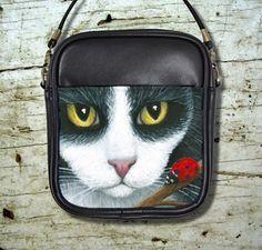 Small Sling Bag Purse Cat 542 Tuxedo Ladybug Art Painting By L.Dumas