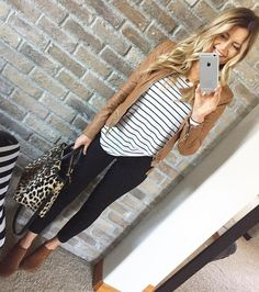 #winter #fashion /  Brown Leather Jacket / Striped Tee / Black Skinny Jeans / Brown Booties / Leopard Tote Bag