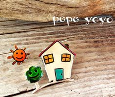country house and sunsterling silver earrings by pepeyoyojewellery