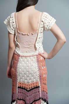 Hippie Hand Crochet Cotton Maxi Skirt OneofaKind by NaliniShop, $195.00