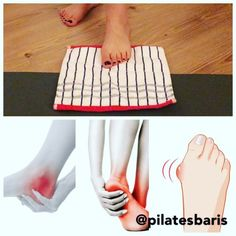 Instagram photo by Code Pilates Studio (@codepilates) 17/04/2016 ▪️Here's a daily exercise to relief your feet pain (bunions, arch pain, heel pain...), all you need is a towel ( small or medium). Place one foot at the back end of the towel and with your toes pull the towel towards your face, once pulled,reset the towel and repeat and switch to the other foot ( for every foot repeat the exercise 5 times)! Try it this might really help you remember you should feel all the toes working and…