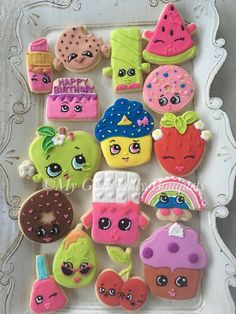 Shopkins decorated sugar birthday party cookies - My Girls Lolly Bouquet Bolo Shopkins, Fete Shopkins, Shopkins Cookies, Shopkins Bday, Cute Cookies, Cupcake Cookies, Sugar Cookies, Pastel Shopkins, 6th Birthday Parties