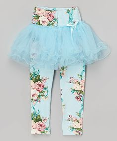 Look what I found on #zulily! Aqua Floral Skirted Leggings - Kids #zulilyfinds