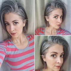 grey hair Going grey Check out Frankies silver hair transition story! Frankie got tired of struggling with her grey hair and let it go all-natural in her Grey Hair In 30s, Dying Hair Grey, Gray Hair Growing Out, Dark Grey Hair, Short Grey Hair, Silver Grey Hair, Short Hair Styles, Grey Hair Natural, Grey Hair Bob