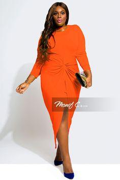 Gigi Knotted Plus Size Dresses - Orange - Monif C