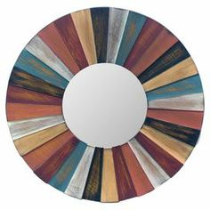 """Showcasing a multicolor wood frame, this circular wall mirror brings charming appeal to your parlor or hallway.   Product: MirrorConstruction Material: Wood and mirrored glassColor: MultiDimensions: 14"""" Diameter x 0.5"""" D"""