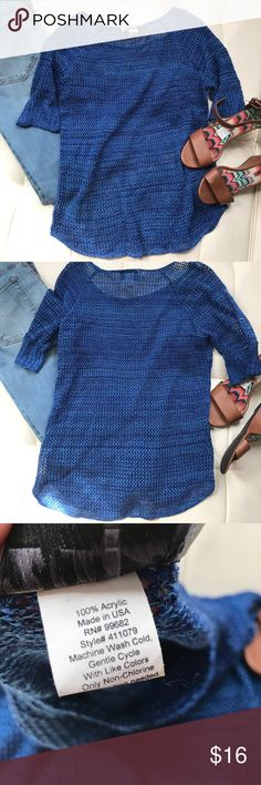 Blue crochet top Pretty blue crochet top with a scoop neck and short sleeves. In excellent condition. No pulls or tears. 212 new york Sweaters Crew & Scoop Necks