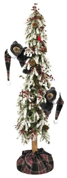 "christmas trees with black bears   72"" Ditz Pre Lit Christmas Flocked Tree Black Bear"