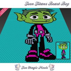 Teen Titans Beast Boy crochet blanket pattern; knitting, cross stitch graph; pdf download; no written counts or row-by-row instructions by TwoMagicPixels, $3.79 USD