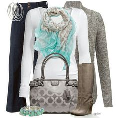 White Long Sleeve Top, Leopard Blue Scarf, Grey Boots and Cardigan and Navy Blue Trousers