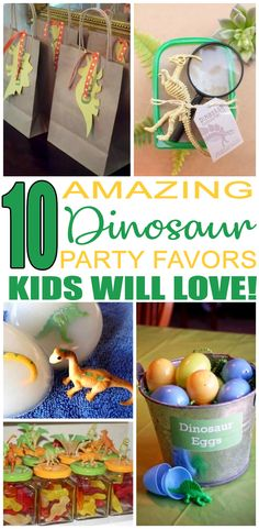 Birthday Party Favors! Dinosaur party favors for a kids bday. The best Dinosaur favor ideas all children will love. Fun & easy ideas for a boy or girl party! Goodie bags, candy, gumballs, & more great take home favors for your guests.