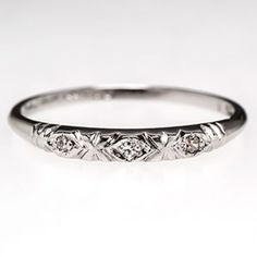 Art Deco Wedding Band Ring w/ Diamonds in Platinum